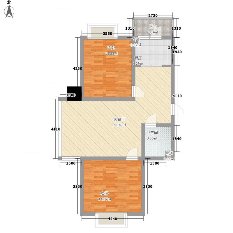 长乐湾98.60㎡长乐湾户型图N户型2室2厅1卫1厨户型2室2厅1卫1厨
