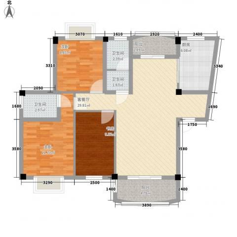天赐良园3室1厅3卫1厨117.00㎡户型图