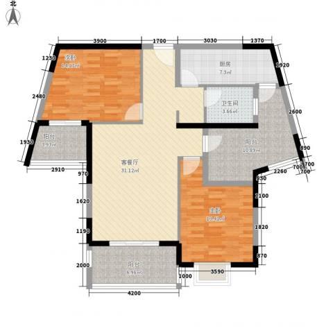 金博水岸2室1厅1卫1厨115.00㎡户型图