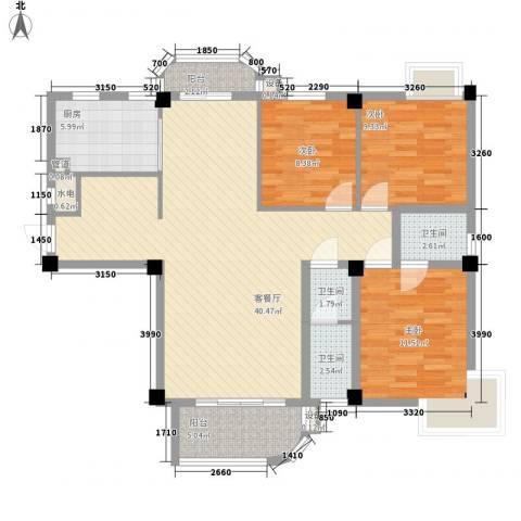 天赐良园3室1厅3卫1厨90.73㎡户型图