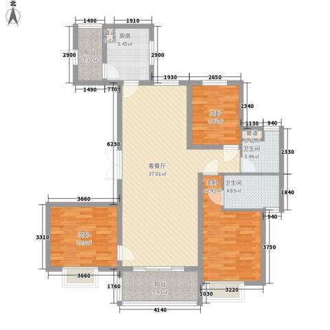 恒大御景湾3室1厅2卫1厨131.00㎡户型图