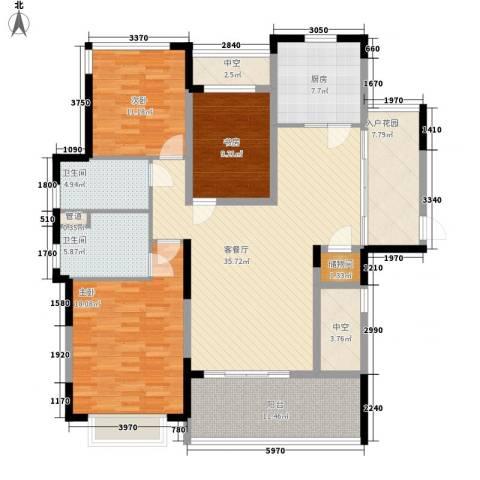 仁恒星园3室1厅2卫1厨172.00㎡户型图