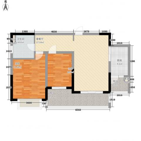 仁恒星园2室1厅1卫1厨105.00㎡户型图