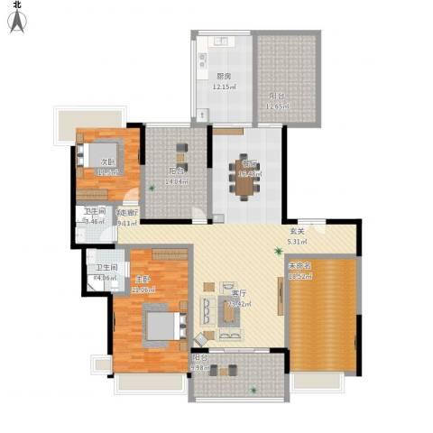 松山湖鹭栖湖2室1厅2卫1厨229.00㎡户型图