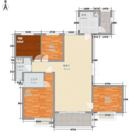 恒大御景湾4室1厅2卫1厨154.00㎡户型图