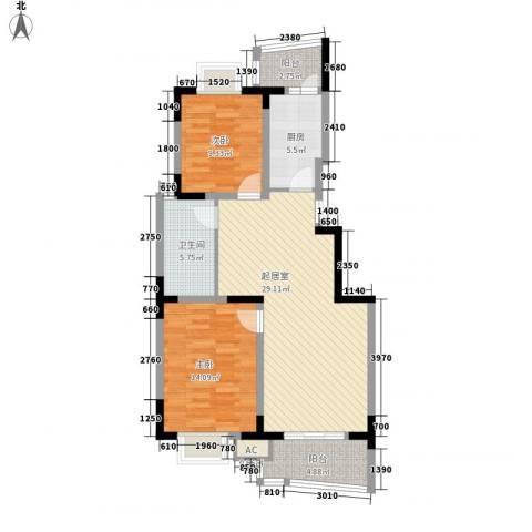 继源城南枫景2室0厅1卫1厨90.00㎡户型图