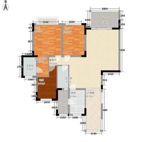 仁恒星园3室1厅2卫1厨162.00㎡户型图