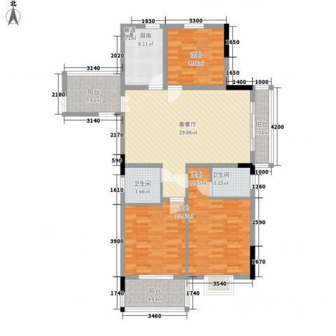 宝兴花园3室1厅2卫1厨116.00㎡户型图