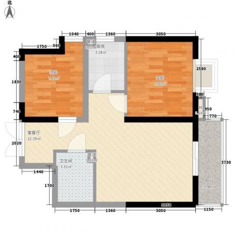 紫薇臻品2室1厅1卫1厨70.00㎡户型图