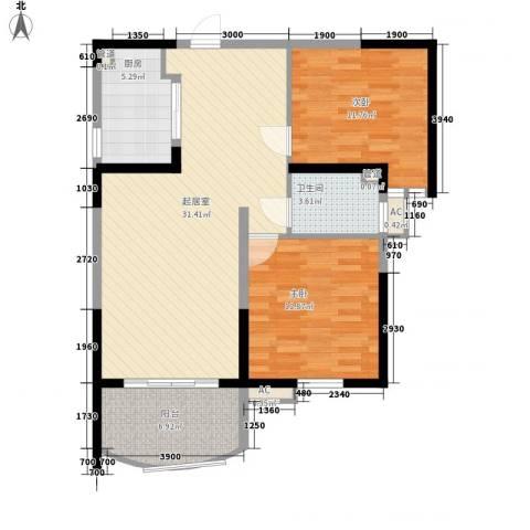 碧桂园十里银滩2室0厅1卫1厨77.00㎡户型图