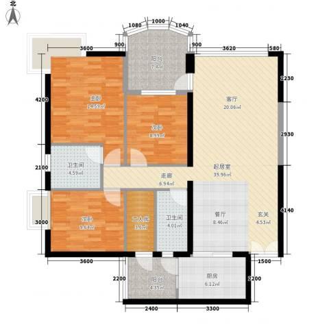 扬名海邑3室0厅2卫1厨171.00㎡户型图