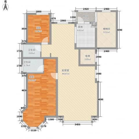 世茂滨江新城2室0厅2卫1厨145.00㎡户型图
