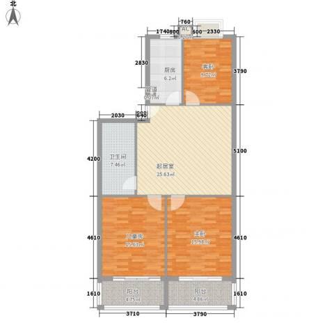 东南花苑3室0厅1卫1厨126.00㎡户型图