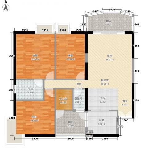 扬名海邑3室0厅2卫1厨148.00㎡户型图