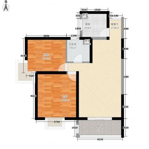 新兴骏景园二期2室1厅1卫1厨93.00㎡户型图