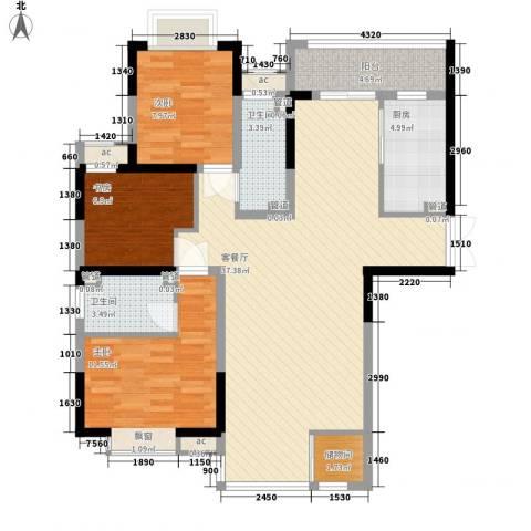 紫薇臻品3室1厅2卫1厨122.00㎡户型图