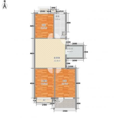 东南花苑3室0厅1卫1厨104.00㎡户型图