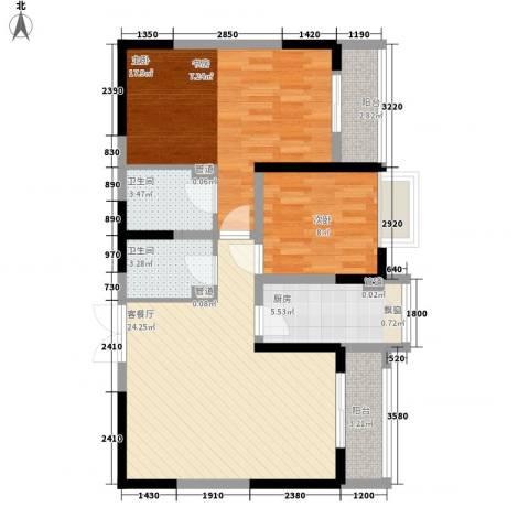 紫薇臻品2室1厅2卫1厨100.00㎡户型图