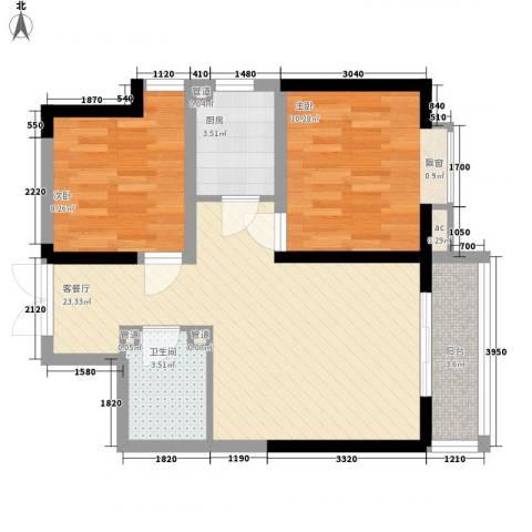 紫薇臻品2室1厅1卫1厨72.00㎡户型图