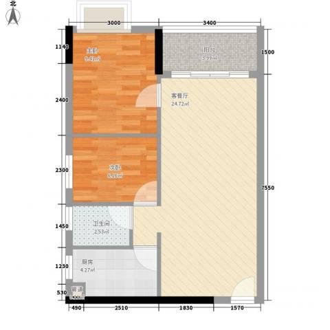 东山水恋2室1厅1卫1厨72.00㎡户型图