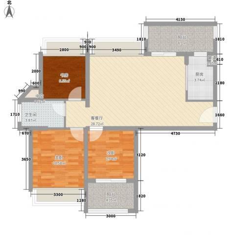 东晖广场3室1厅1卫1厨104.00㎡户型图