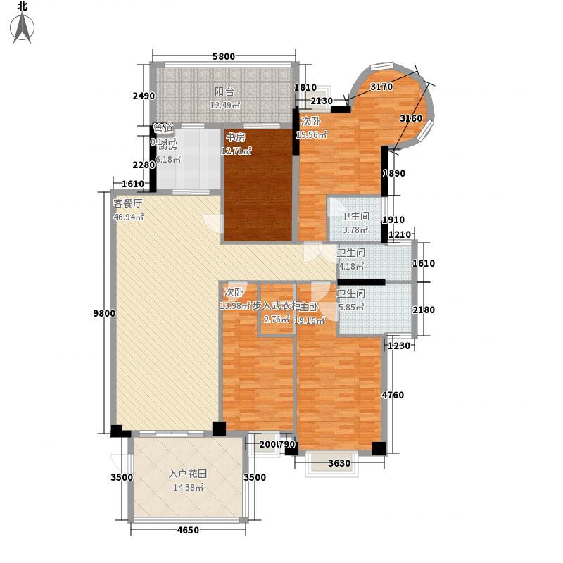 金叶岛187.73㎡H栋3-10层J户型4室2厅3卫1厨