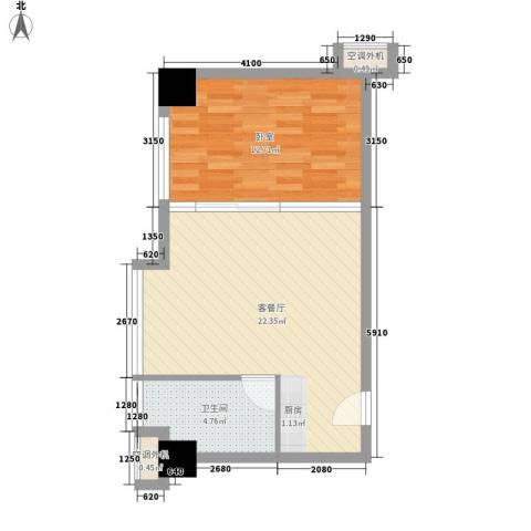 中建小区1厅1卫0厨59.00㎡户型图