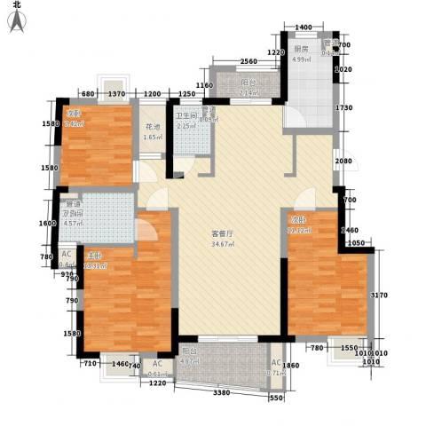 大华锦绣华城公园新纪3室1厅2卫1厨130.00㎡户型图