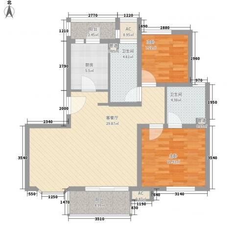 康桥水都2室1厅2卫1厨105.00㎡户型图