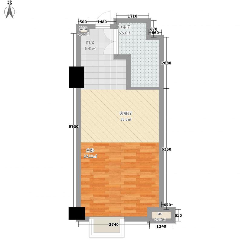 英伦汇67.17㎡B座公寓标准层M户型1室1卫