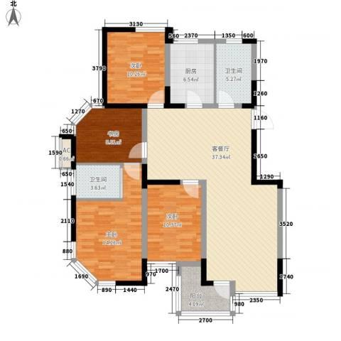 多友大厦4室1厅2卫1厨142.00㎡户型图
