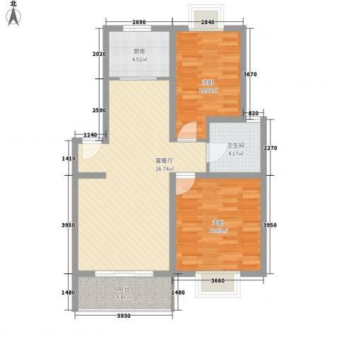 丽景江南2室1厅1卫1厨89.00㎡户型图