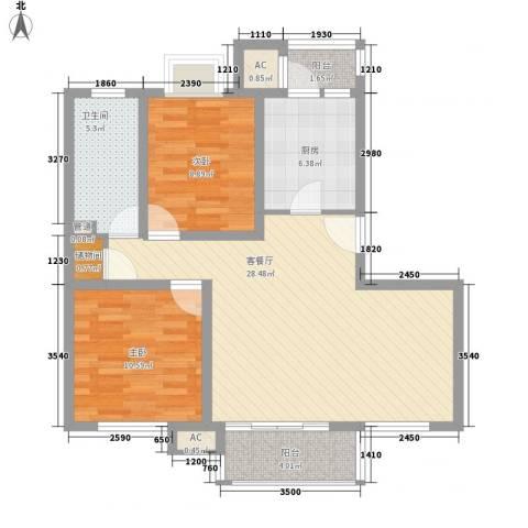 康桥水都2室1厅1卫1厨99.00㎡户型图