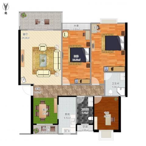 半山家园3室1厅2卫1厨156.00㎡户型图
