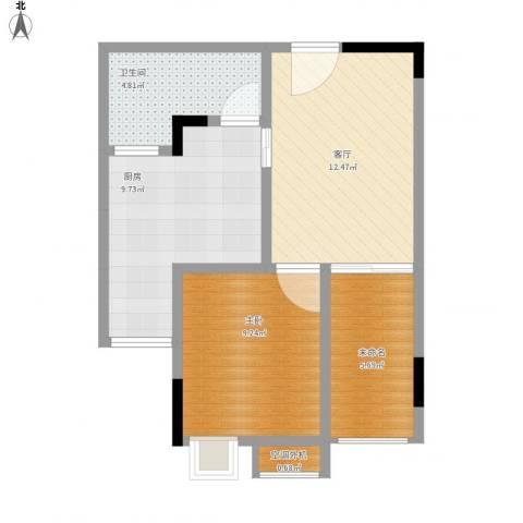 天王星铂晶城1室1厅1卫1厨62.00㎡户型图