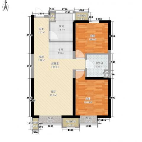 金地滨河国际社区2室0厅1卫1厨81.00㎡户型图