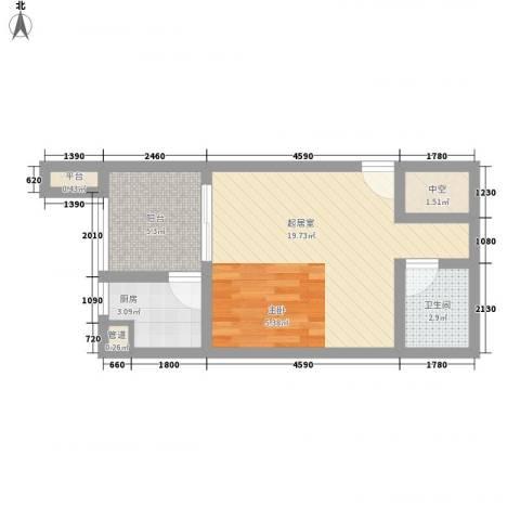 首创鸿恩国际生活区三期1卫1厨50.00㎡户型图