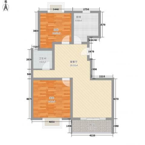 丽景江南2室1厅1卫1厨102.00㎡户型图