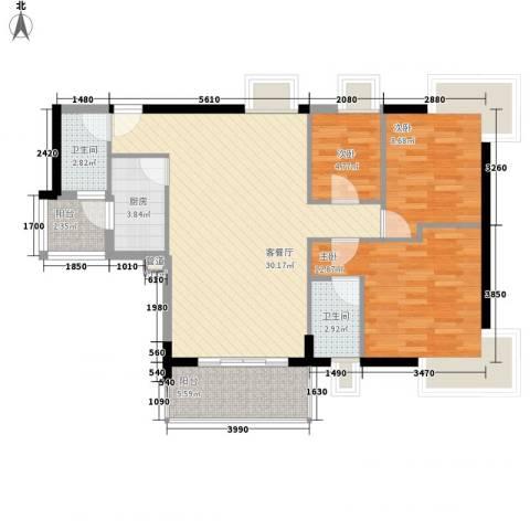 东山水恋3室1厅2卫1厨105.00㎡户型图