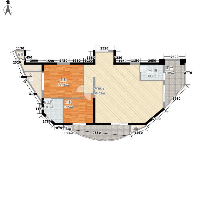 水晶国际138.00㎡3#楼标准层F户型2室2厅2卫1厨