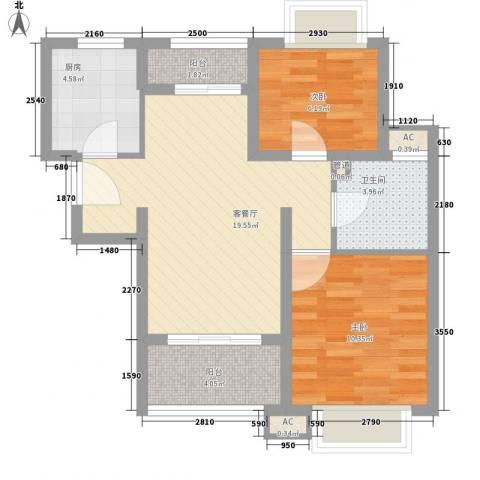 康桥水都2室1厅1卫1厨76.00㎡户型图