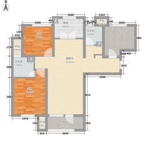 大运河孔雀城温莎郡2室1厅2卫1厨109.00㎡户型图