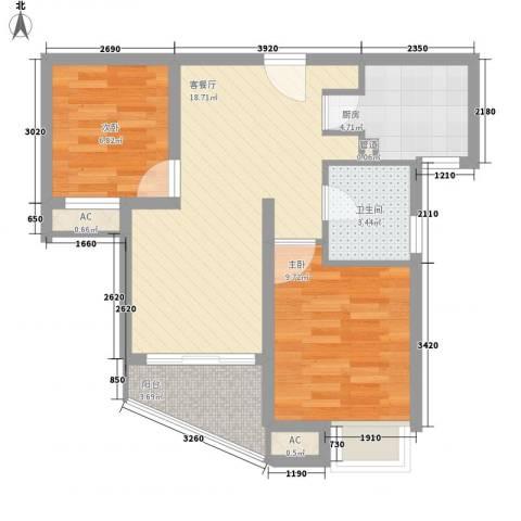 康桥水都2室1厅1卫1厨71.00㎡户型图