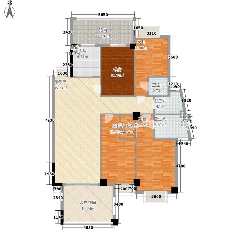 金叶岛176.10㎡H栋3-10层D户型4室2厅3卫1厨