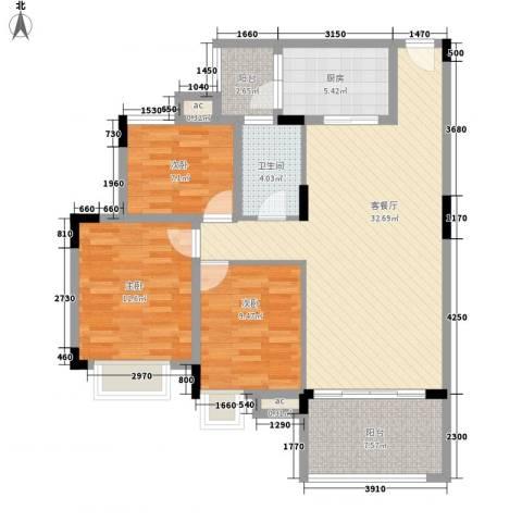 新世界花园3室1厅1卫1厨117.00㎡户型图