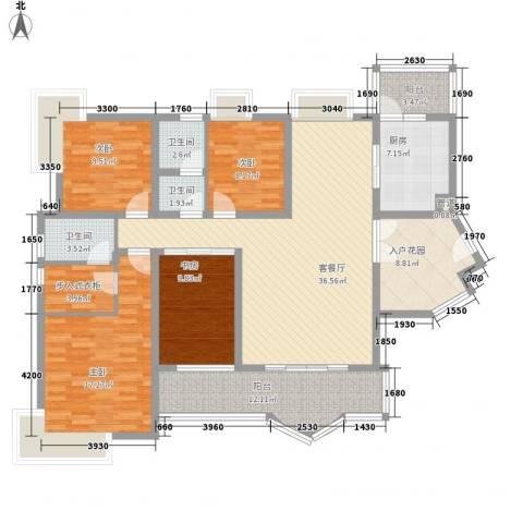 龙涛居4室1厅3卫1厨181.00㎡户型图
