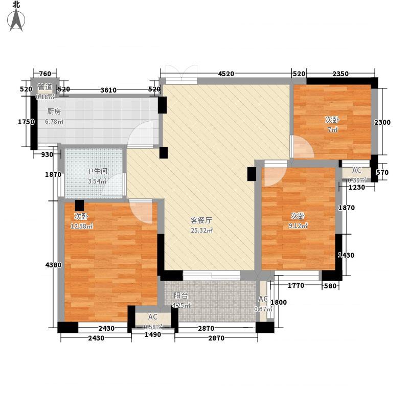 正祥梧桐水岸103.00㎡一期18层小高层5#、7#、9#楼户型3室2厅1卫