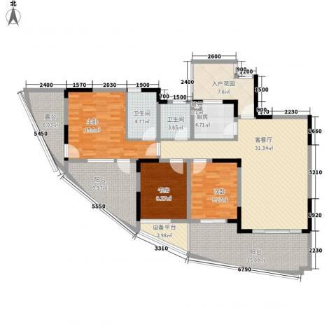 福康瑞琪曼国际社区3室1厅2卫1厨124.00㎡户型图
