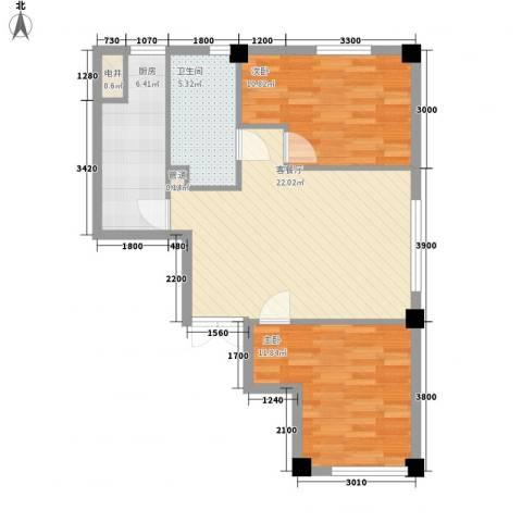青果公寓2室1厅1卫1厨83.00㎡户型图