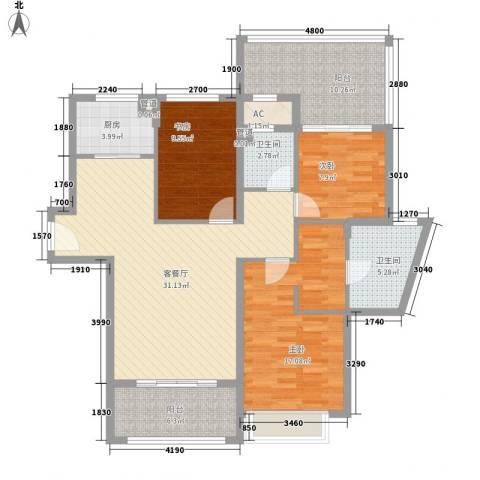 东晖广场3室1厅2卫1厨137.00㎡户型图